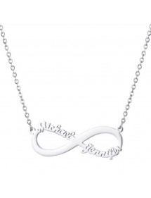 Necklace Personalized Infinity Simply Silver 2 Names