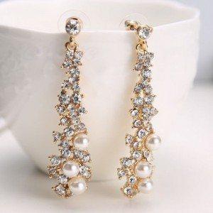 Cercei Chic cu Perle și Diamante de Aur