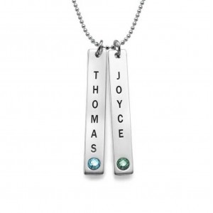 Necklace Custom Bar Silver 3 initials And Birth Stone