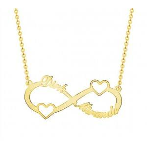 Necklace Infinite Golden The 2 Names With Hearts + Gift Box