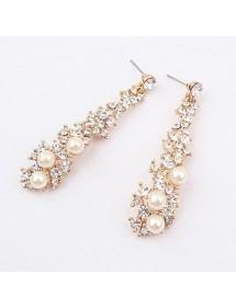 Boucles D'Oreilles Chic Perles et Diamants Doré 2