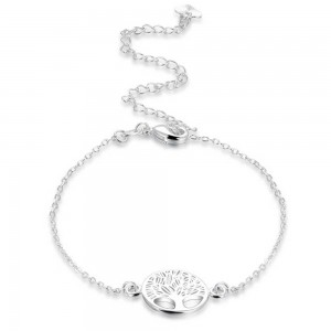 Chain of Ankle - Tree-Of-Life - Design - Silver
