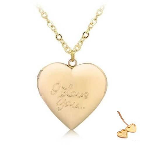 Колие - Медальон Сърце за Фото - I Love You - Позлата