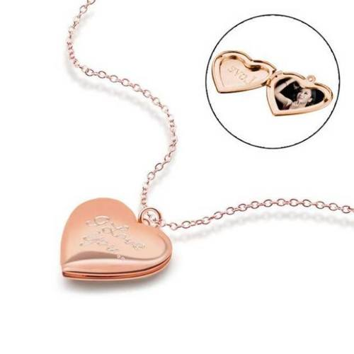 Necklace - Locket Heart for Picture - I Love You - Golden (Pink Gold)