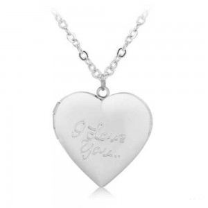Collier - Médaillon Coeur pour Photo - I Love You - Argenté
