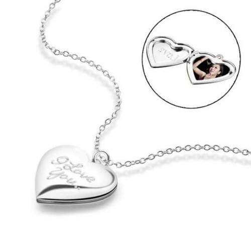 Necklace - Heart Locket for Photo - I Love You - Silver