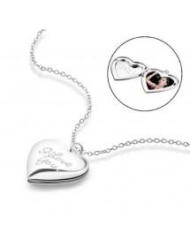 Colar - medalhão de coração para foto - eu te amo - prata