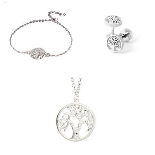 Pack Collier Bracelet Boucles D'oreilles Arbre De Vie Simply Argenté