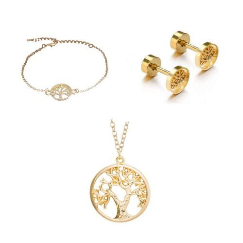Pack Collier Bracelet Boucles D'Oreilles Arbre De Vie Simply Doré