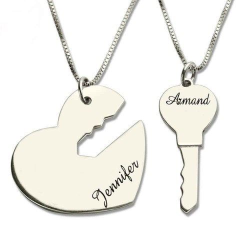 Necklace Personalized Couples Key and Heart Silver 2 Names