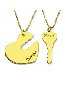 Necklace Personalized Couples Key and Heart 2 Names Golden