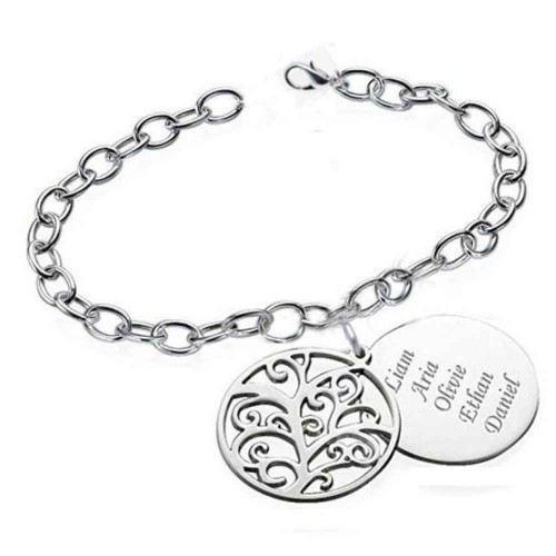 Bracelet Personnalisé Arbre de Vie Design 1 à 5 Prénoms