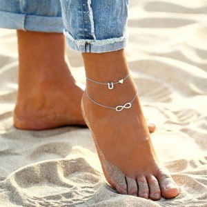 Chain of Ankle - Infinite Heart and Initial Letter - Silver