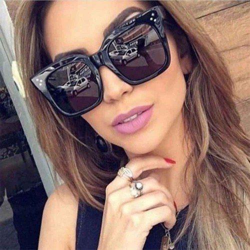 Sunglasses Woman - Kim - Glasses Large and Flat - Black