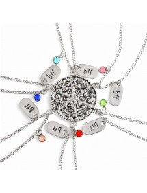 Necklace - BFF, Best Friends - Best Friends - set of 6 - Pizza - Silver