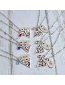 Collier - BFF Best Friends - Meilleures Amies - Lot de 6 - Pizza - Argenté