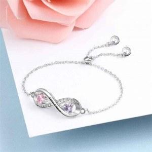 Armband Personalisierte Unendlichkeit Design 2 Namen Silber Farbe 3