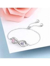 Braccialetto personalizzato Infinity Design 2 nomi color argento 3