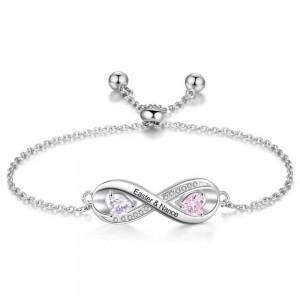 Armband Benutzerdefinierte Unendlich Design 2 Vornamen Silber