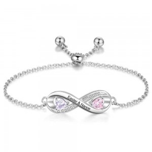 Bracelet Personalized Infinity Design With 2 Names Silver