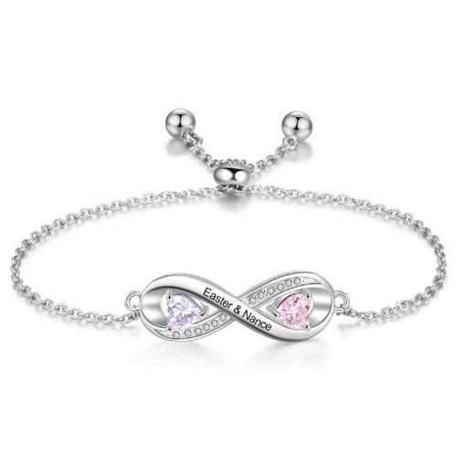 Armband Personalisierte Unendlichkeit Design 2 Namen Silber Farbe