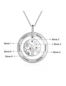 """Halskette Benutzerdefinierte Baum des Lebens """" - Design, 7 Vornamen Silber"""
