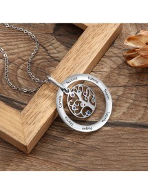 Necklace Custom Tree of Life Design 2 to 9 Names Silver Color 3