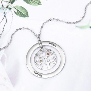 Necklace Custom Tree of Life Design 2 to 9 Names Color Silver 4