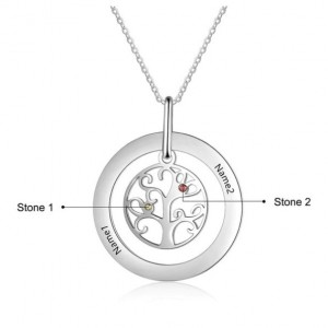 Necklace Custom Tree of Life Design 2 Names Silver