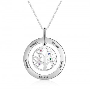 Necklace Custom Tree of Life Design 2 to 9 Names Silver Color