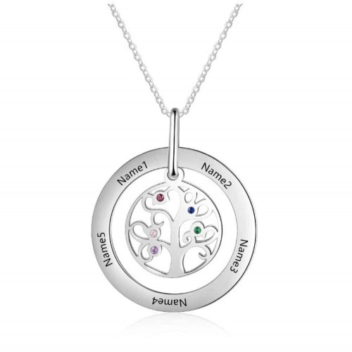 Halskette Benutzerdefinierte Baum des Lebens-Design 2 9 Vornamen Silber