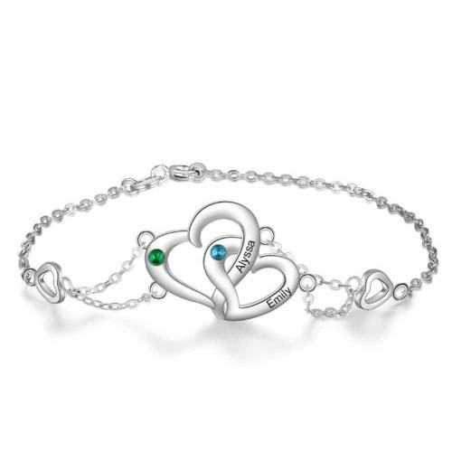 Bracelet Personnalisé Coeur Design 2 Prénoms Couleur Argent