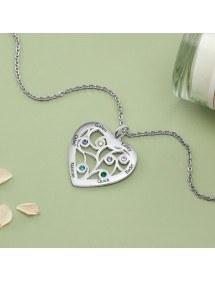 Collar Personalizado Corazón 6 Nombres Diseño Color Plata 2