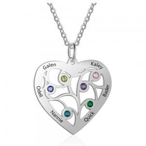 Halsband Anpassad Hjärta 6 Namn Design Silver Färg