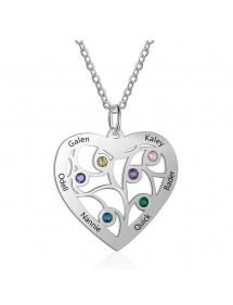 Collar Personalizado Corazón 6 Nombres Diseño Color Plata