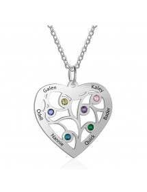 Necklace Custom Heart 6 Names Design Silver Color