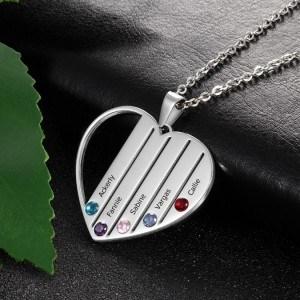 Collier Personnalisé Coeur 5 Prénoms Couleur Argent