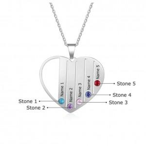 Collar Personalizado Corazón 5 Primeros Nombres En Color Plata 2