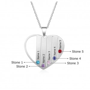 Necklace Custom Heart 5 First Names In Silver Color 2