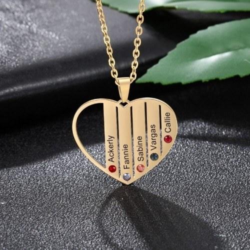 Collier Personnalisé Coeur 5 Prénoms Couleur Or