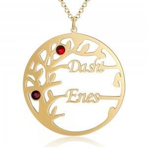 Collar Personalizado Árbol de la Vida de Diseño de 2 Nombres de Color: de Oro