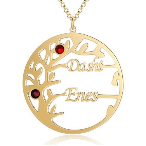 Collar Personalizado Árbol de la Vida Diseño 2 Nombres Color Dorado