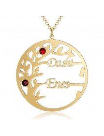 Collana Personalizzata Albero della Vita Design 2 Nomi Colore Oro