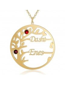 Персонализирана огърлица Дървото на живота Дизайн 2 имена Златен цвят