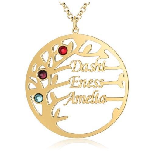 Collar Personalizado Árbol de la Vida de Diseño de 3 Nombres de Color de Oro