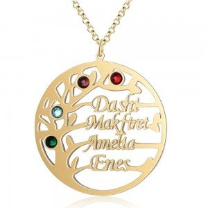 Necklace Custom Tree of Life Design 4 Names-Gold Color