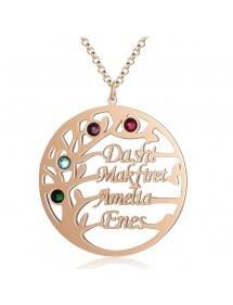 Halskette Benutzerdefinierte Baum des Lebens Design 4 Vornamen der Farbe Rose Gold