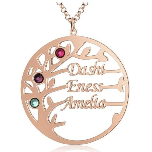 Necklace Custom Tree of Life Design 3 Names Pink Gold