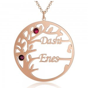 Necklace Custom Tree of Life Design 2 Names Color Pink Gold