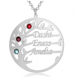 Halsband Egna Träd Design 3 Namn Silver Färg